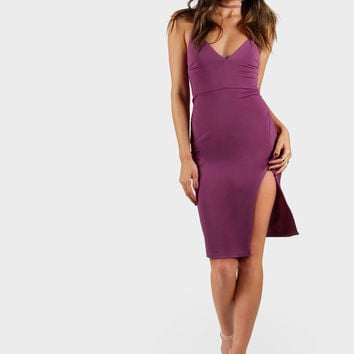 Slit Front Cami Pencil Dress | MakeMeChic.COM