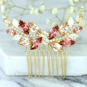 Bridal Hair Comb,Swarovski Hair Comb, Blush Hair comb, Hair Accessories, Gold Hair Comb, Bridal Silver Hair Comb, Champagne Blush Hair Comb.
