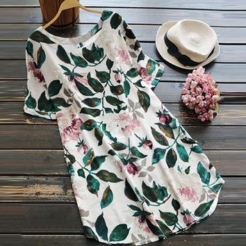 Women Floral Print Mini Dress Summer Party Long Long Sleeve Dress Plus Size Large yard cotton and linen printed loose dress