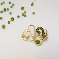 Wave Brass Brooch Green Crystal, Custom Color Made to Order
