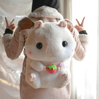 cute hamster plush backpack cartoon stuffed plush hamster toy girls school bag kids toy children gift