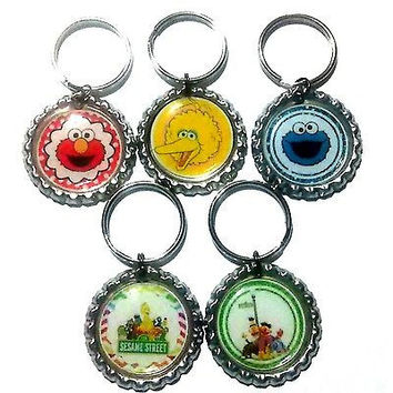 Sesame Street Party Favor Key chains SET OF 10 - Elmo Birthday - Sesame Street Birthday
