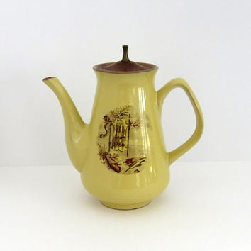 Vintage yellow teapot coffee pot with wooden and brass handle - Cottage chic decor - 1786 decorated ceramic teapot coffee pot
