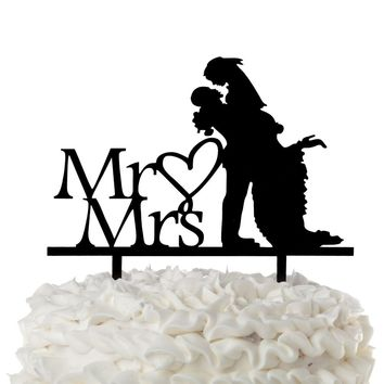 Mr & Mrs Acrylic Wedding Cake Topper - Loving Lift with Heart