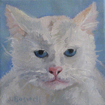 White Cat Painting Pet Portrait One of a Kind Painting Original Oil Modern Impressionist Small Canvas Jennifer Boswell