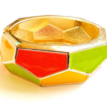 Vintage Geometric Clamper Bracelet - Hinged Bangle - Orange Yellow Green - Enamel Faceted Gold Tone 1980s Style 80s Fashion