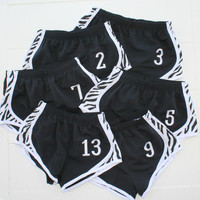 Youth Soccer Team Running Shorts Black Zebra Print