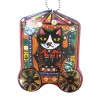 Circus Ringmaster Kitty Cat Shaped Illustrated Resin Pendant Necklace | DOTOLY