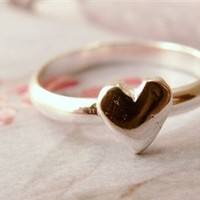 Heart Stacking Ring, Sterling Silver