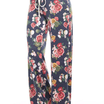Floral Print Sweat Pants