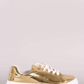 Qupid Mirror Metallic Lace Up Sneaker