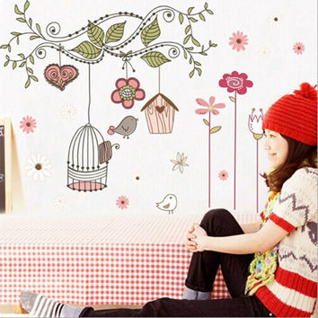 Happy Bird Cage Tree Cartoon Mural Decal DIY Removable Art Vinyl Wall Stickers Home Decoration children wall sticker