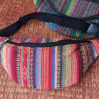 Boho Fanny pack Ikat Colorful Styles cycling bag Travel Hipster phanny waist woven bag Ethnic Hippie Bohemian Stripe for men red orange