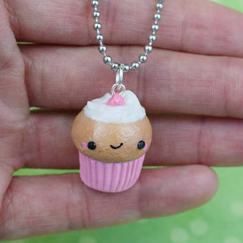 Kawaii Pink Strawberry Cupcake | Polymer Clay | Charm Necklace | Cute Handmade Gift | Miniature Food Sweet