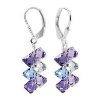 SCER009 Sterling Silver Multicolor Blue, Lavender, Purple Earrings Made with Swarovski Elements
