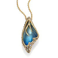 Lucite & Crystal Caged Butterfly Wing Pendant Necklace