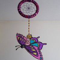 3.5'' Butterfly Dreamcatcher Nursery Mobile - Glass Painted Purple and Pink Dream Catcher - Hanging Baby Room Decoration - Suncatcher Mobile
