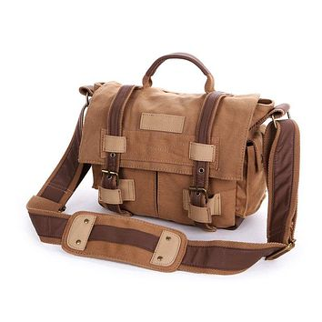 BLUESEBE UNISEX WAXED CANVAS MESSENGER DSLR CAMERA BAG BBK-3K