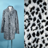 Vintage 90s Snow Leopard Big Cat Print Faux Fur Vegan Fuzzy Club Kid Black Grey Grunge Rave Trench Coat Jacket w/ Side Pockets sz S
