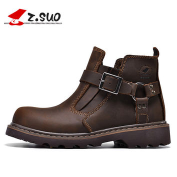 2016 New Unisex Motorcycle Boots Genuine Leather Men's Ankle Boots High Quality Breathable Work Cowboy Boots Botas
