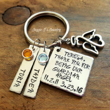 Handstamped Thank You For Being Our Guardian Angel Personalized Keychain, We Love You Keychain, Gift from Kids, Gift For Guardian Angel
