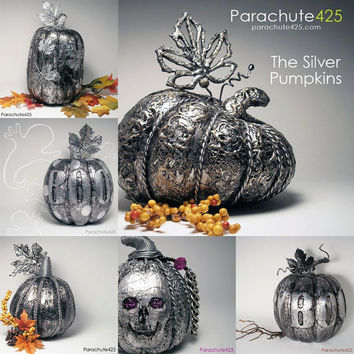 Silver Foil Halloween Pumpkins from Parachute425