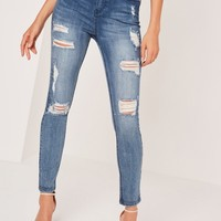 Missguided - Sinner High Waisted Authentic Ripped Skinny Jeans Blue