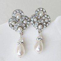 TRENA Pearl Drop Classic Bridal Earrings