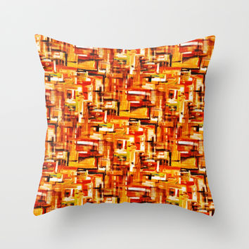 Burnt Orange Throw Pillow by RokinRonda