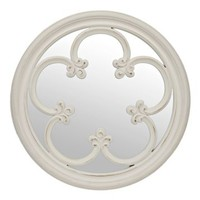 Distressed White Floral Mirror, 21 in.