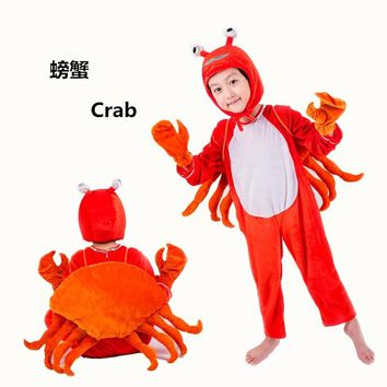 Free shipping children performance crab Cosplay Clothing animal Costumes Jumpsuit  90-150cm S-4XL size