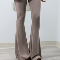 Let's Get Away Light Brown High Waisted Fit & Flare Pants