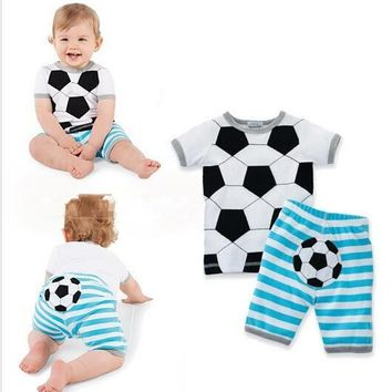 NEW 2018 Summer baby boy and girls Soccer Pattern clothing set baby short striped two pieces clothes two sets sprot suit newborn