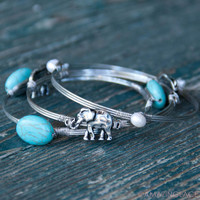 Tuscan Charm Silver Bangle Set - Antique Silver