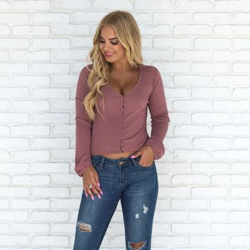 Aimee Mauve Button Up Long Sleeve Blouse