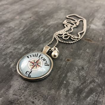 Milford CT Compass Pendant with Hand Wrapped Bead 24-in
