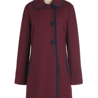 Pink Martini 60s Long Long Sleeve City Light the Way Coat in Burgundy