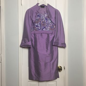 Luisa Spagnoli purple silk midi dress with cape sz 6