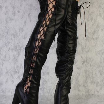 Black Round Pointy Toe Side Lace Up Cutout Above The Knee Chunky Heel Ami ClubWear Boots Faux Leather