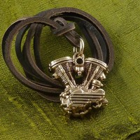 Engine Necklace - Bronze Pendant on Leather - Motorcycle Necklace