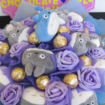 Totoro Plush Doll with Soot Spirit & Ferrero Rocher Chocolate Flower Bouquet. Perfect for crazy Japanese cartoon fans!