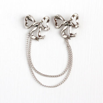 Vintage Sterling Silver Double Bow Pin Brooch - Retro 1940s Connected Layered Chain Ribbon Motif Sweater Guard Elegant Statement Jewelry