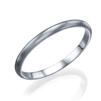 White Gold Men's Wedding Bands - 2mm Rounded Plain Brushed Matte Ring