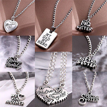 Fashion Sister Mother Daughter Dad Grandma Family Pendant Necklace Jewelry