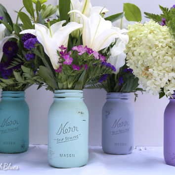 Turquoise and Purple Painted Mason Jars - Summer Wedding Decor - Decoration - Centerpiece