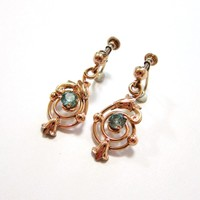 Antique 9K Rose Gold Vermeil Sterling Aqua Paste Drop Earrings
