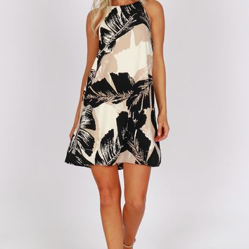 Tropical Leaf Print Dress Black