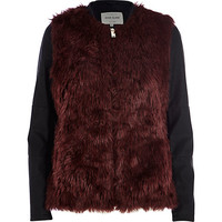 River Island Womens Dark red contrast sleeve faux fur jacket