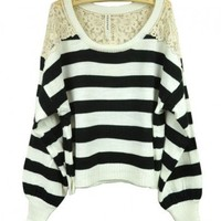 White Stripe Jumpers with Floral Lace Detail