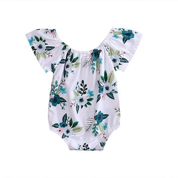 Pudcoco Off the shoulder Romper dress for Baby girls Flower patterned Jersey Dress